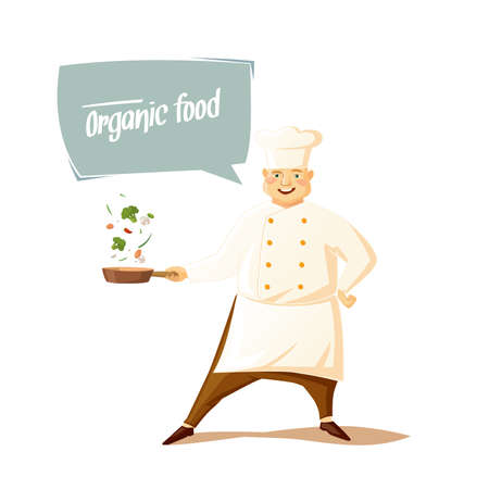 fryer: Funny chef on a white background. Vector illustration.