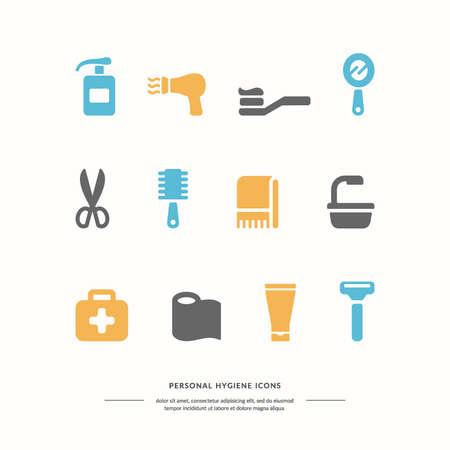 aseo personal: Iconos de higiene personal. Los gr�ficos vectoriales. Objetos de la higiene personal.