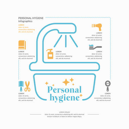 Personal hygiene infographics. Conceptual poster. Vector graphics. Objects of personal hygiene. Иллюстрация