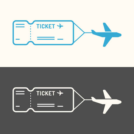 airplane travel: Linear image of the ticket. Ticket icon on background. Vector illustration.