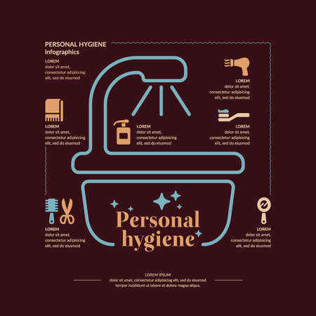 personal hygiene: Personal hygiene infographics. Conceptual poster. Vector graphics. Objects of personal hygiene. Illustration