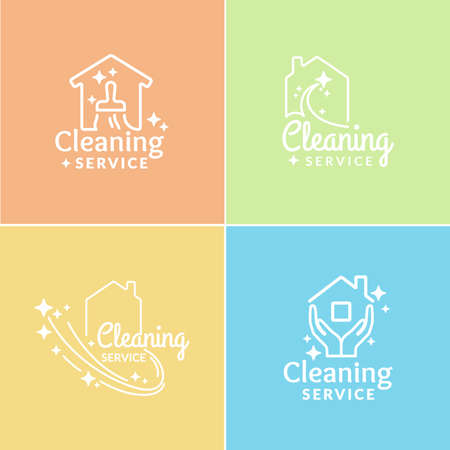 services icon: Set. Logo Cleaning Service. Label collection. Private company cleaning apartments and offices.
