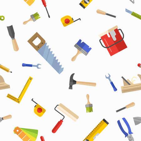 pintor de casas: sin patrón, con herramientas para la reparación. Ilustración del vector. Rodillo, brocha, pintura, lápiz, herramienta, martillo, cinta métrica, una espátula, un lápiz.