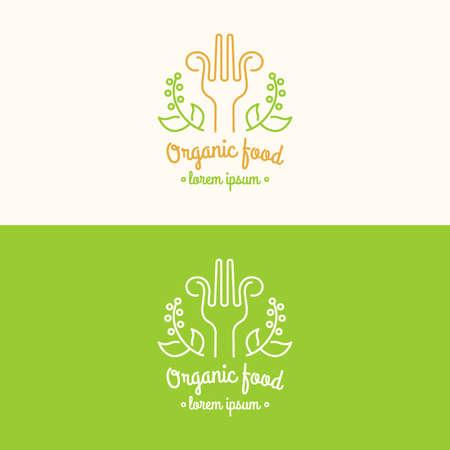 food banner: Food logo. Graphic sign for restaurant or cafe. Modern vector illustration.