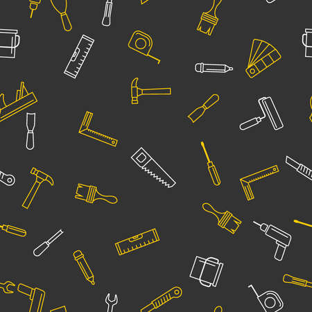 Seamless pattern with tools for repair. Vector illustration. Roller, brush, paint, pencil, tool, hammer, tape measure, putty knife, pencil. Иллюстрация