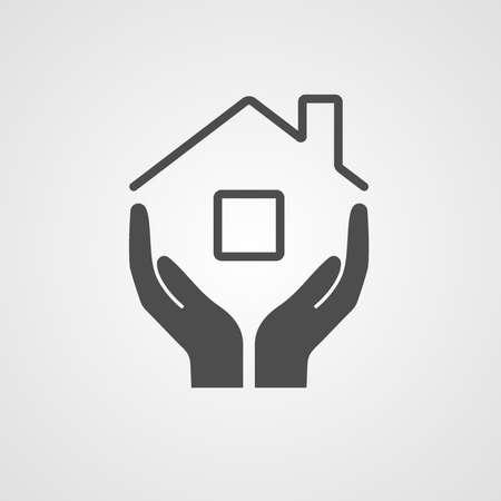 Ícone em casa. O símbolo da empresa para a reparação e manutenção da construção da casa. Ilustração vetorial A imagem das mãos e o telhado da casa.