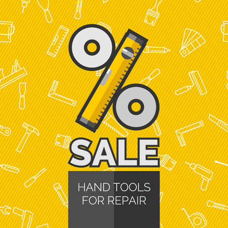 putty knife: Original concept poster discount sale. Vector illustration. Seamless pattern with tools for repair. Roller, brush, paint, pencil, tool, hammer, tape measure, putty knife, pencil. Illustration