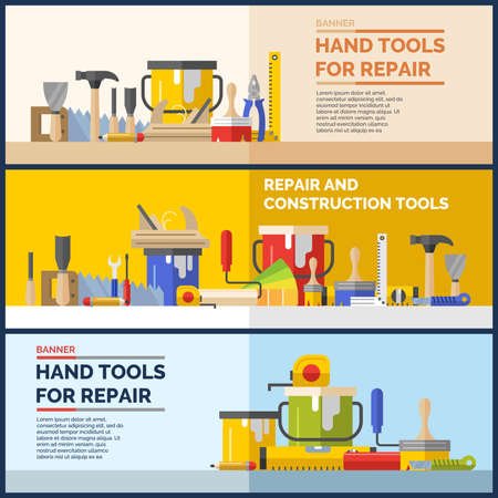 putty knife: Hand tools for home renovation and construction. Tools in a bright, flat style. A colorful poster , vector illustration. Roller, brush, paint, pencil, tool, hammer, tape measure, putty knife, pencil. Illustration