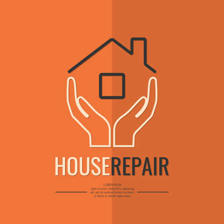 restoration: Linear logo home repairs and plumbing repairs. The symbol of the company for the construction of repair and renovation. Vector illustration.