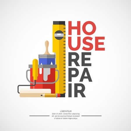 Herramientas de mano para rehabilitación de viviendas y la construcción. Herramientas en un estilo brillante, plana. Un cartel colorido, ilustración vectorial. Rodillo, brocha, pintura, lápiz, nivel del edificio.