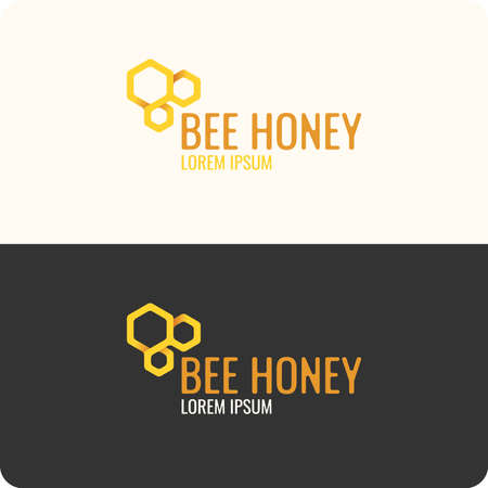 honey comb: Logo bee honey. Stylish and modern logo for bee products.