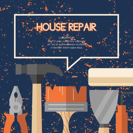 Handwerkzeuge für Haus Renovierung und Bau. Werkzeuge in einem hellen, flachen Stil. Ein buntes Plakat