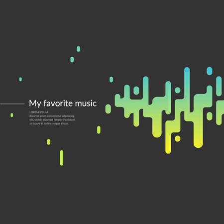 Modern fashion achtergrond met een geluidsgolf. Poster voor muzikale begeleiding. Vector illustratie.