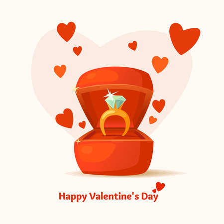 14: Valentines day. February 14. Gift box and a ring with a diamond in cartoon style. Vector illustration on white background. Illustration