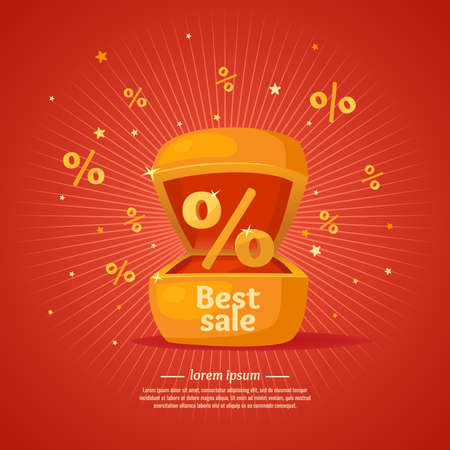 symbol sign: Best sale banner. Gift box in cartoon style. Original concept poster discount sale. Vector illustration on red background. Illustration
