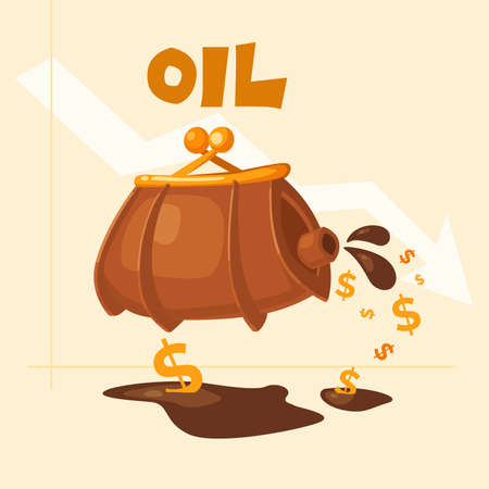 low prices: Sell oil at low prices. The image of the barrel of oil. Conceptual vector illustration in cartoon style. Illustration