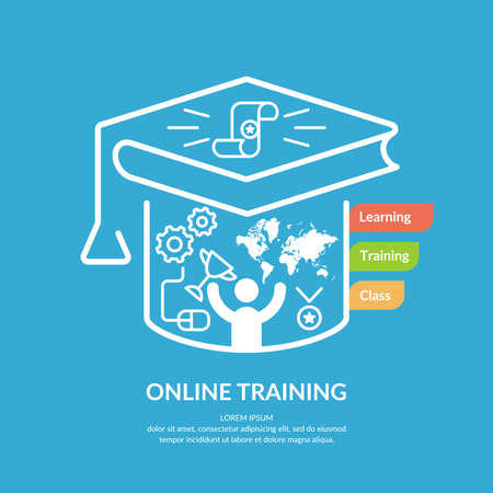 vocational training: Online training. Vector modern illustration in flat style.