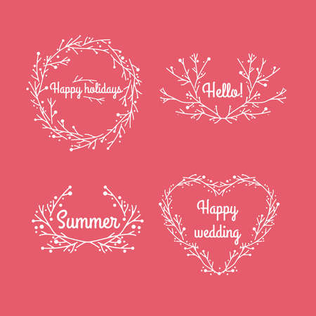 adorning: Set of beautiful wreaths from branches. Background for your text. Save the date, wedding invitation, holidays. Illustration