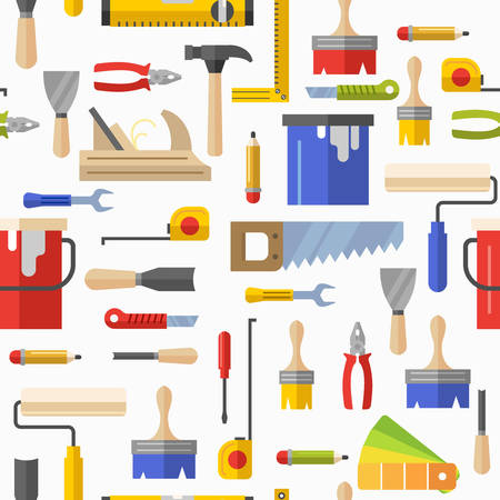 Seamless pattern with tools for repair. Vector illustration. Roller, brush, paint, pencil, tool, hammer, tape measure, putty knife, pencil. Vettoriali