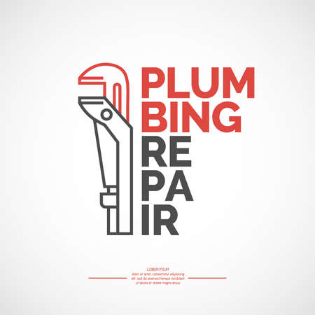 plumb: Plumbing repair banner. Vector stylish poster and illustration.
