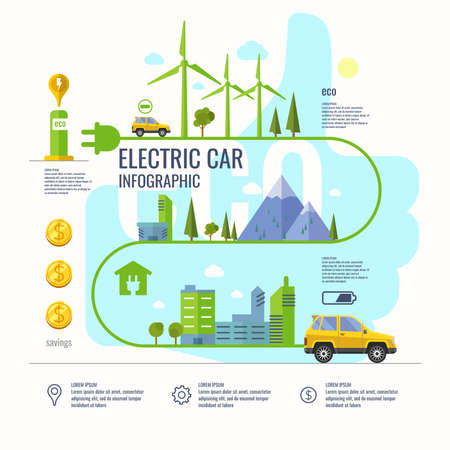 electric cars: Infographic poster about electric cars. Modern vector illustration explaining the benefits of electric cars.