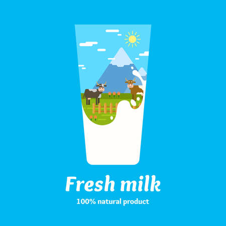 dairy product: Dairy product. Farm. The original concept poster to advertise milk. Vector illustration. Illustration