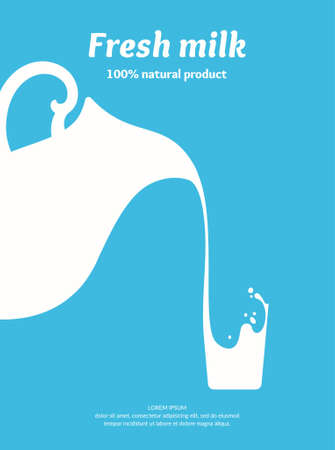 The original concept poster to advertise milk. Vector illustration. Çizim