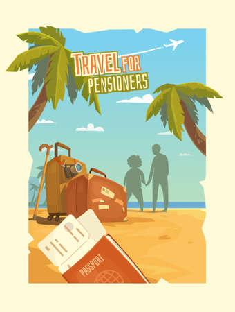 cruise cartoon: Bright, colorful poster to advertise travel packages to sea. Leisure for older people. Vector illustration. Sea, palm, sand, beach, summer, tickets, ticket, passport, suitcase, camera, people.