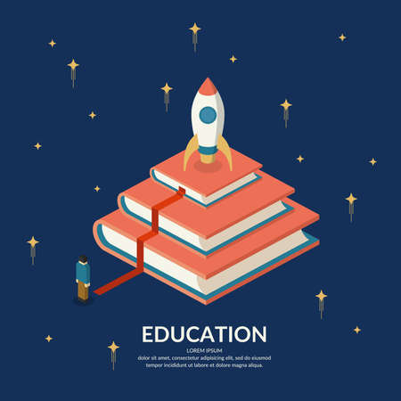 further: Education Infographics. Conceptual vector illustration on the theme of training and further education.