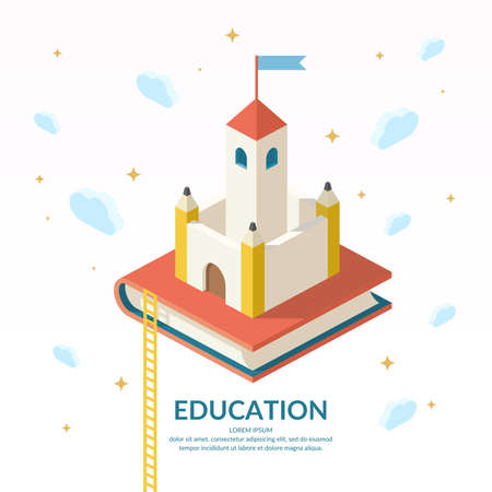 further education: Education Infographics. Conceptual vector illustration on the theme of training and further education.