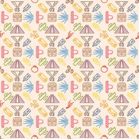 agave: Original seamless pattern with traditional symbols of Mexico. Vector illustration. Sombrero, volcano, pyramid, tequila, cactus, agave, coffee, tomato, nachos, burrito, tamale, chile. Illustration