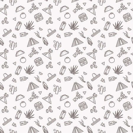 Original seamless pattern with traditional symbols of Mexico. Vector illustration. Sombrero, volcano, pyramid, tequila, cactus, agave, coffee, tomato, nachos, burrito, tamale, chile. Illustration