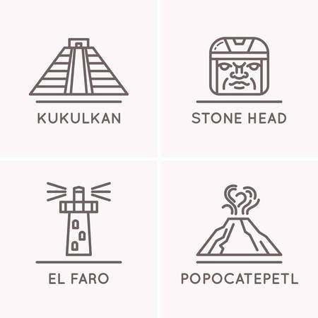 kukulkan: Mexican culture set 1. The objects of everyday life of the Mexican people and their landmarks.