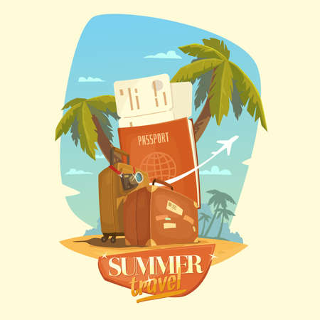 happy family nature: Summer travel. Bright, colorful poster to advertise travel packages to sea. Vector illustration. Sea, palm, sand, beach, summer, tickets, ticket, passport, suitcase, camera, people.