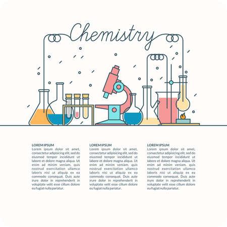 The background of teaching chemistry. Chemical devices for lessons, modern illustration.