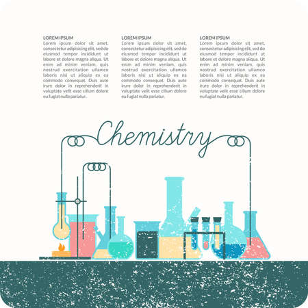lessons: The background of teaching chemistry. Chemical devices for lessons, modern illustration.