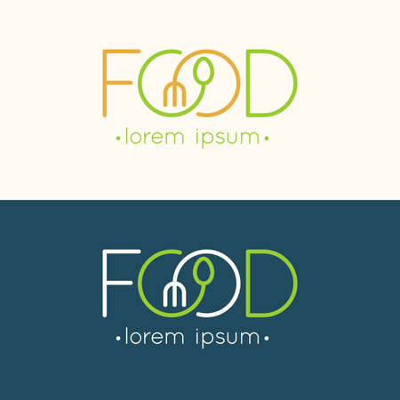 spoon: Modern minimalistic  of food. illustration. Illustration