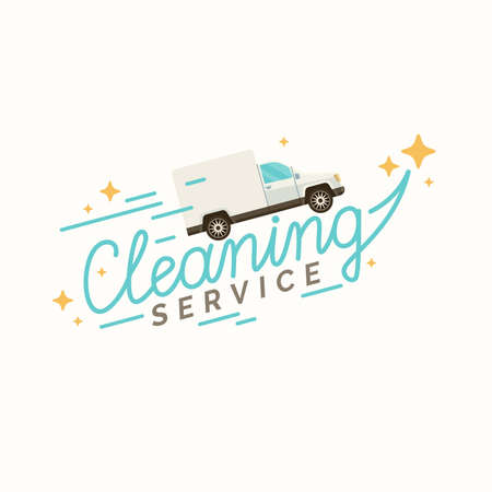 Conceptual poster cleaning service. Illustration