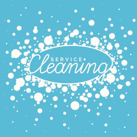 carpet cleaning service design: Conceptual poster and the icon for cleaning. Sign cleaning service in soap bubbles.