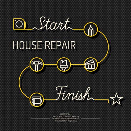 家の修理を計画するための概念的なポスターを修復します。