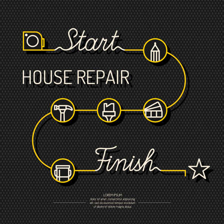 home repairs: Home repairs, conceptual poster for planning repairs. Illustration