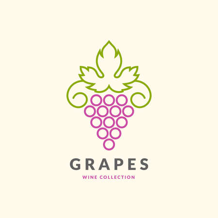 token: The modern concept of grapes on a light background. The token for the collection of wines, vineyards and restaurant. Illustration