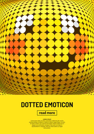 modest: Modest smile. Emotional face icon. Yellow emoticon. dotted smiley face. Conceptual  illustration on the theme of emotions. Bright icon, badge and poster.