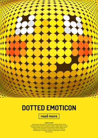 modest fashion: Modest smile. Emotional face icon. Yellow emoticon. dotted smiley face. Conceptual  illustration on the theme of emotions. Bright icon, badge and poster.