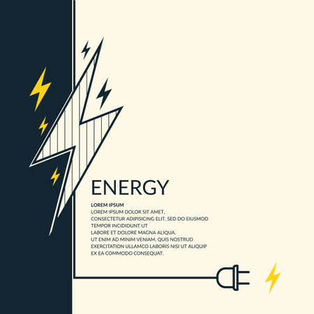 electric wire: Flat abstract background with the image of lightning and electric wire with plug. Illustration
