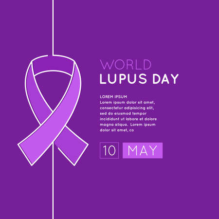lupus: Poster of the world day of struggle with lupus. The Inscription Lupus Day. May 10. Linear pattern belt as a symbol of the fight against lupus.