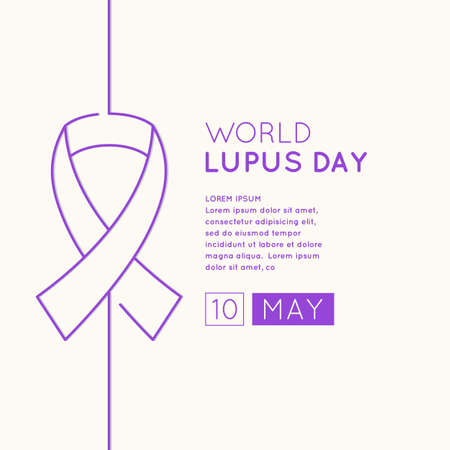 Poster of the world day of struggle with lupus. The Inscription Lupus Day. May 10. Linear pattern belt as a symbol of the fight against lupus.