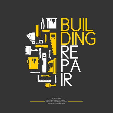 주택 개조 및 건설을위한 수공구. 밝고 평평한 스타일의 도구. 건물 및 주택 수리. 롤러, 브러쉬, 페인트, 연필, 도구, 망치, 테이프 측정, 퍼티 나이프, 연필.