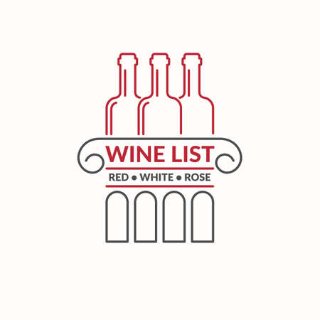 shop sign: The modern concept of grapes and wine icon on a light background. The token for the collection of wines, vineyards and restaurant.