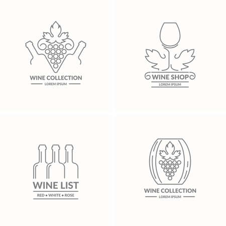 token: The modern concept of grapes and wine icon on a light background. The token for the collection of wines, vineyards and restaurant.
